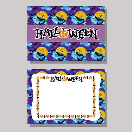 originally: Halloween greeting card with originally written text Halloween!. Vector clip art. Illustration