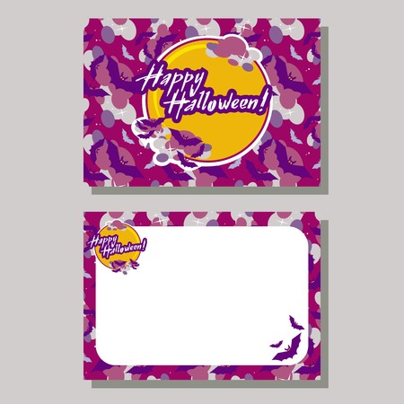 originally: Halloween greeting card with originally written text Happy Halloween!. Vector clip art.