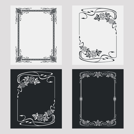 embossing: Set of silhouette vertical frames. Design element for banners, labels, prints, posters, web, presentation, invitations, weddings, greeting cards, albums. Vector clip art.