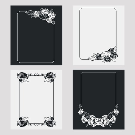albums: Set of silhouette vertical frames. Design element for banners, labels, prints, posters, web, presentation, invitations, weddings, greeting cards, albums. Vector clip art.