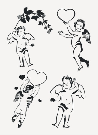 cupido: Set of cupids silhouette. Design element for banners, labels, prints, posters, web, presentation, invitations, weddings, greeting cards, albums. Vector clip art. Illustration