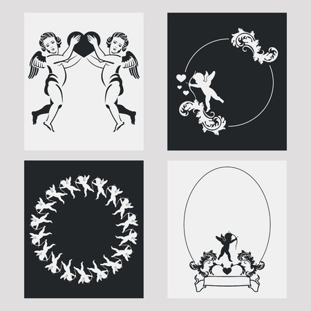 cupido: Set of silhouette frames with angels. Design element for banners, labels, prints, posters, web, presentation, invitations, weddings, greeting cards, albums. Vector clip art. Illustration