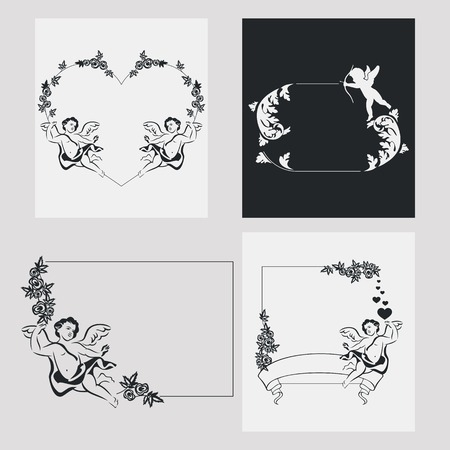Set of silhouette frames with angels. Design element for banners, labels, prints, posters, web, presentation, invitations, weddings, greeting cards, albums. Vector clip art.