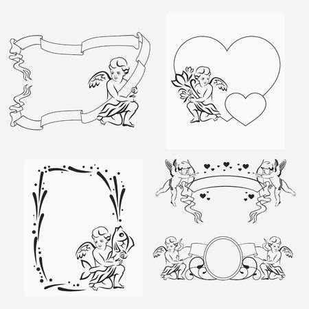 Insieme dei telai silhouette con gli angeli. Elemento di design per banner, etichette, stampe, manifesti, web, presentazione, inviti, matrimoni, biglietti di auguri, album. Vector clip art.