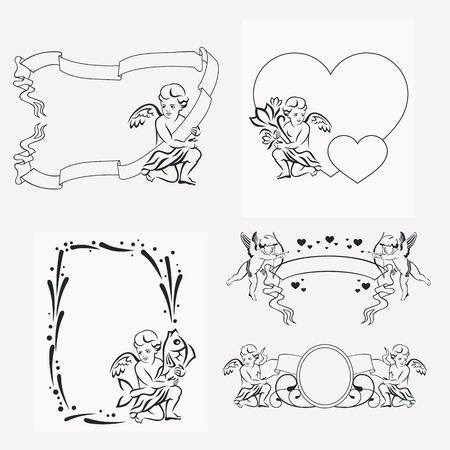 Set of silhouette frames with angels. Design element for banners, labels, prints, posters, web, presentation, invitations, weddings, greeting cards, albums. Vector clip art. Illustration