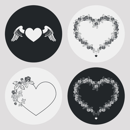 embossment: Set of the elegant frames in shape of heart with floral ornament. Design element for banners, labels, prints, posters, web, presentation, invitations, weddings, greeting cards, albums. Vector clip art.