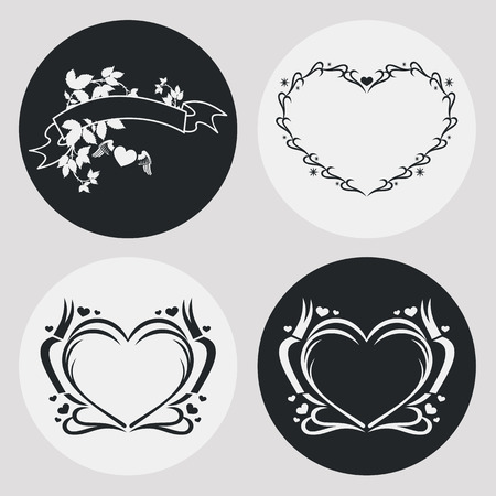 stamping: Set of the elegant frames in shape of heart with floral ornament. Design element for banners, labels, prints, posters, web, presentation, invitations, weddings, greeting cards, albums. Vector clip art.