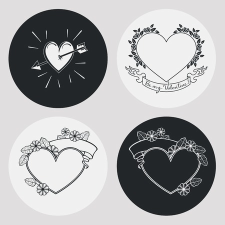 wedding heart: Set of the elegant frames in shape of heart with floral ornament. Design element for banners, labels, prints, posters, web, presentation, invitations, weddings, greeting cards, albums. Vector clip art.