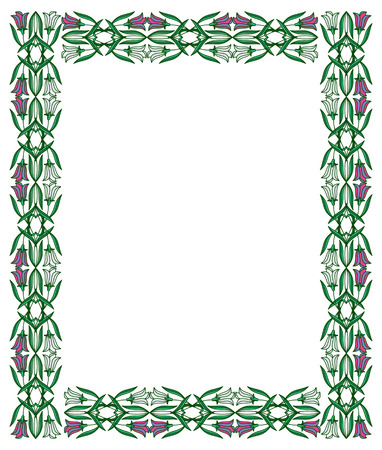 embossing: Color frame with abstract flowers. Vector clip art. Illustration