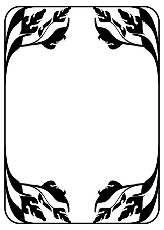 embossing: Floral silhouette frame. Vector clip art.