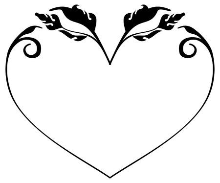 marcos silueta en forma de corazón. Clip art. Ilustración de vector