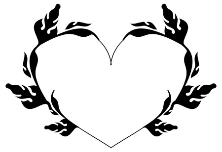 heartshaped: Heart-shaped silhouette frames. Vector clip art.