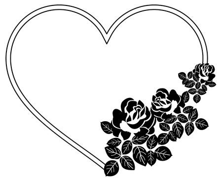 marcos silueta en forma de corazón con las rosas. clip art