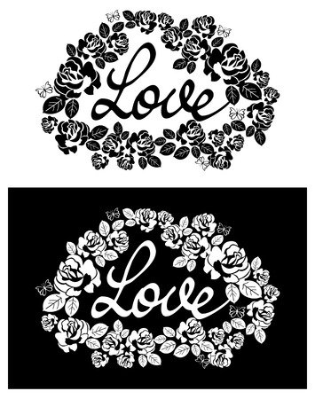 single word: Roses silhouettes and single word Love. Vector clip art.