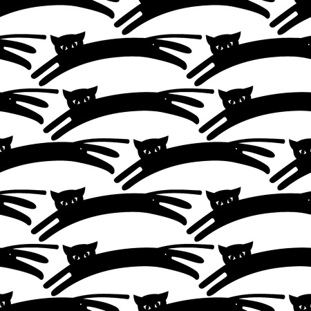 Print design: Black and white seamless pattern with cat and mice. Vector clip art.