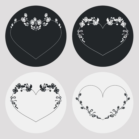 heartshaped: Set of heart-shaped silhouette frames. Design elements for graphic backgrounds. Vector clip art.
