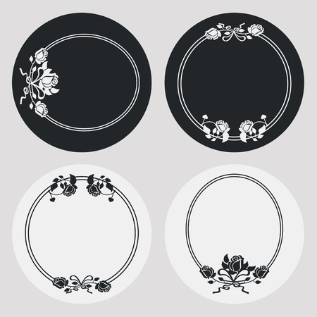 embossing: Set of silhouette round frames with roses. Design elements for graphic backgrounds. Vector clip art.