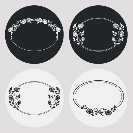 circle flower: Set of silhouette oval frames with roses. Design elements for graphic backgrounds. Vector clip art.