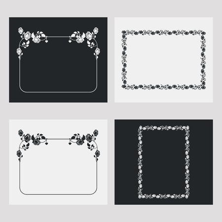 embossing: Set of frames with roses silhouette.Vector clip art.