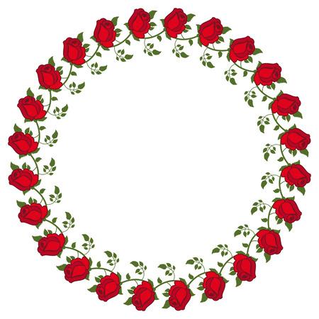 Rond frame met rode rozen. Vector illustraties.