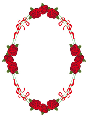 Cadre ovale avec des roses rouges. Vector clip art.