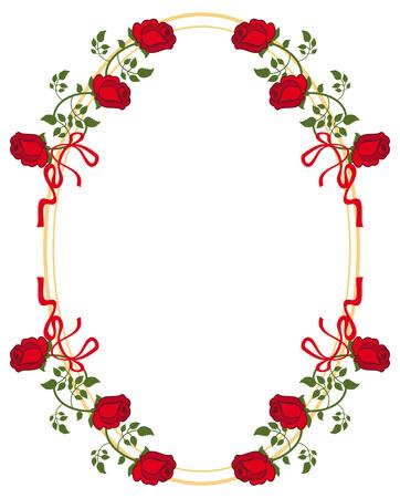 赤いバラのオーバル フレーム。ベクター クリップ アート。  イラスト・ベクター素材