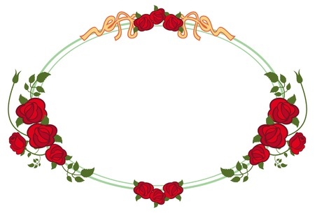 mixed marriage: Oval frame with red roses. Vector clip art.