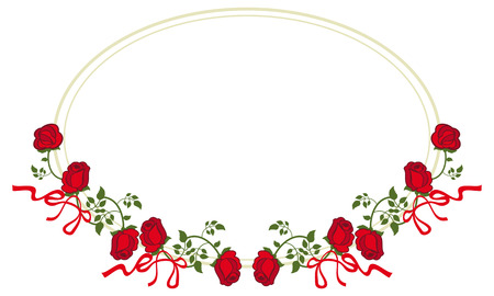 oval frame: Oval frame with red roses. Vector clip art.