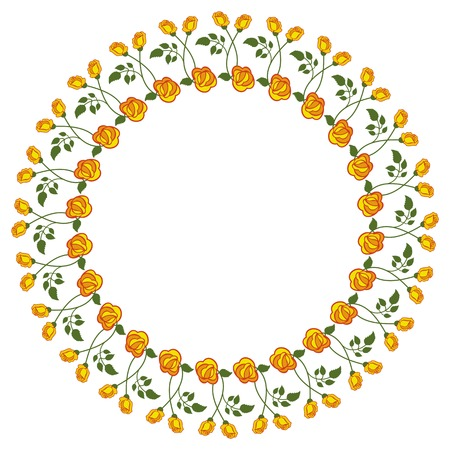 yellow roses: Round frame with yellow roses. Vector clip art.