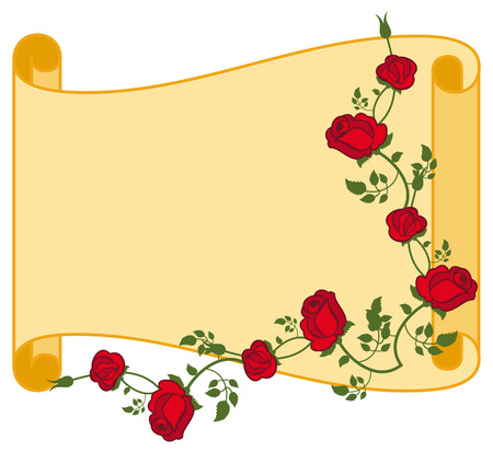 spring roll: Paper scroll with red roses. Vector clip art. Illustration