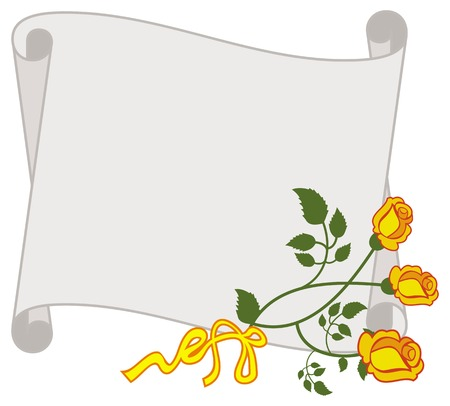 old wallpaper: Paper scroll with yellow roses. Vector clip art.