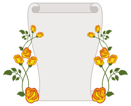 Paper scroll with yellow roses. Vector clip art.