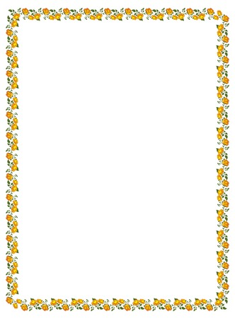 yellow roses: Vertical frame with yellow roses. Vector clip art. Illustration