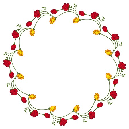 yellow roses: Round frame with red and yellow roses. Vector clip art.