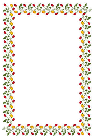Vertical frame with red and yellow roses. Vector clip art. Иллюстрация