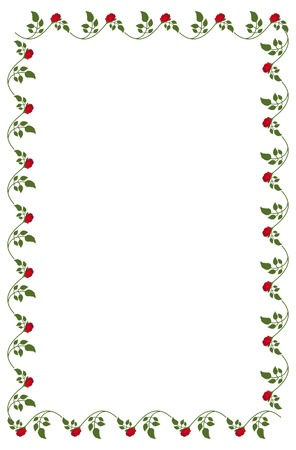 yellow roses: Vertical frame with red and yellow roses. Vector clip art. Illustration