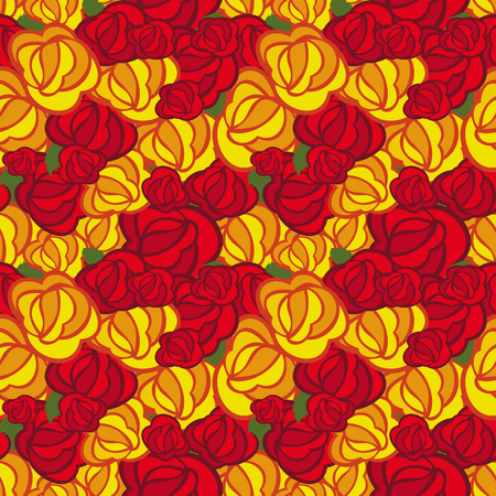 allover: Seamless pattern with roses. Vector clip art. Illustration