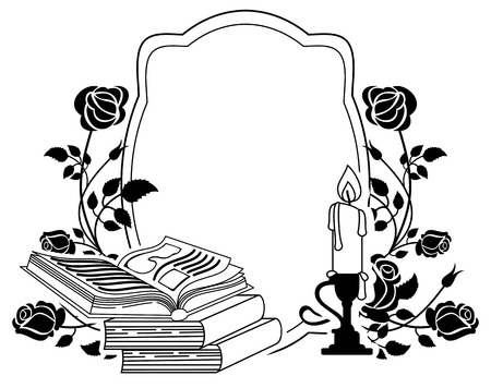 candlestick: Contour frame with roses, books and candlestick. Vector clip art.