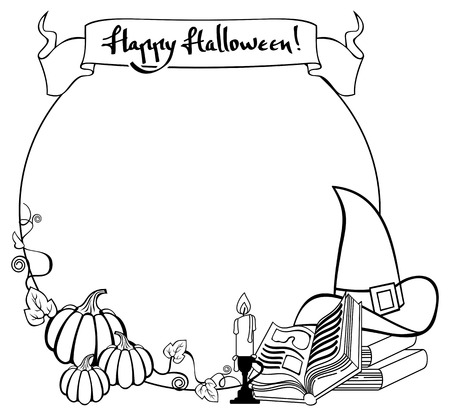 Contour halloween frame with witch hat, magician books and candlestick. Vector clip art. Illustration