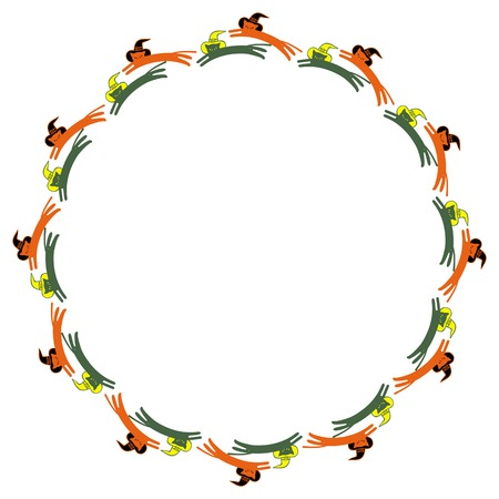 Round frame with black cats in witch hats. Vector clip art.