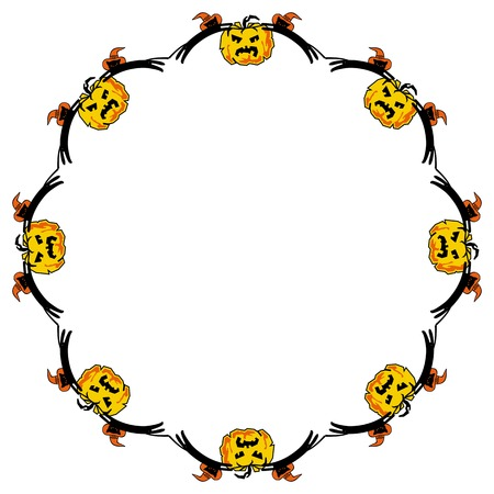 free fall: Round frame with black cats and Halloween pumpkins. Vector clip art.