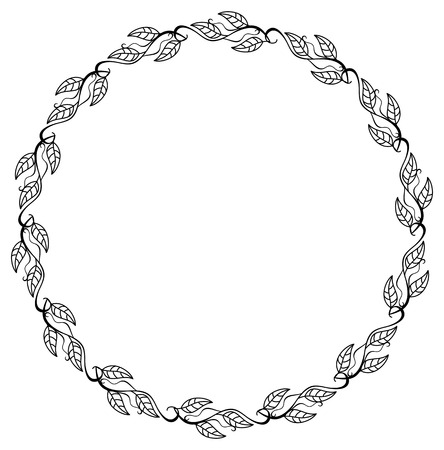 Round contour floral frame with leaves. Illustration