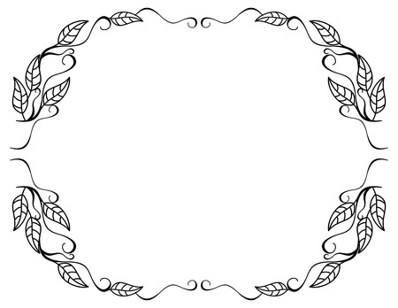 contour: Round contour floral frame with leaves. Illustration