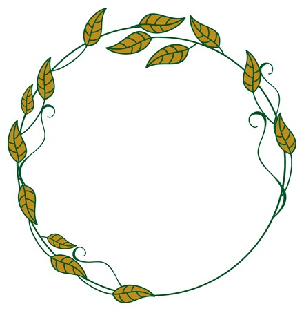 Round frame with color decorative leaves. Vector clip art.