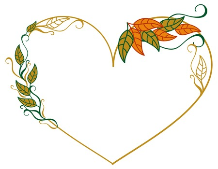 shaped: Heart shaped frame with color decorative leaves. Vector clip art.
