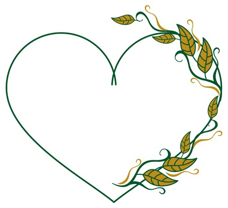 Heart shaped frame with color decorative leaves. Vector clip art.