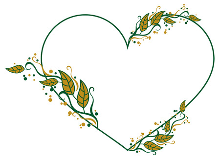 heart shaped leaves: Heart shaped frame with color decorative leaves. Vector clip art.
