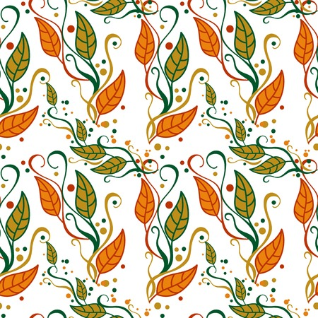 falling leaves: Seamless pattern with falling leaves. Vector clip art. Illustration