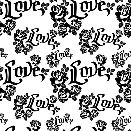 single word: Seamless pattern with single word love and roses silhouettes. Original custom hand lettering. Vector clip art. Illustration