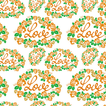 Seamless pattern with single word love and roses silhouettes. Original custom hand lettering. Vector clip art. Illustration